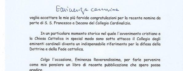 Lettera Congratulazioni al CARDINALE Giovanni Battista Re