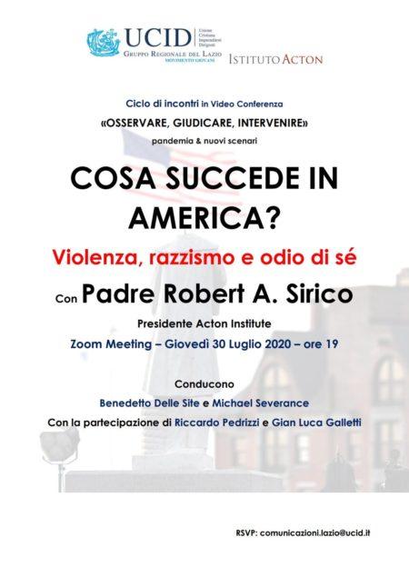 locandina COSA SUCCEDE IN AMERICA - UCID GG Lazio - 30-07